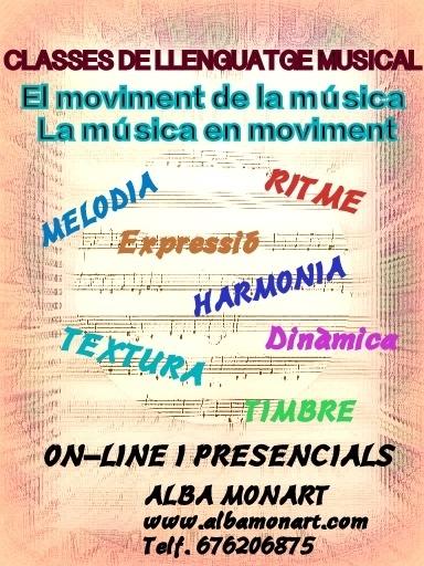 CLASSES DE LLENGUATGE MUSICAL PRESENCIALS I ONLINE CURS 20-21
