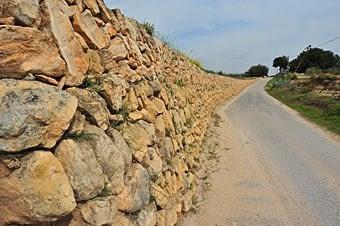 Una paret increiblement llarga i ben conservada, exemple de l'estil de construccio amb pedra sense retocar. N'hi ha de totes mides. Aquesta tanca vora camí correspon a una grandiosa vinya.