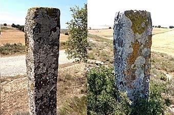 Dos pilons de pedra. Marcaven límits de propietat.