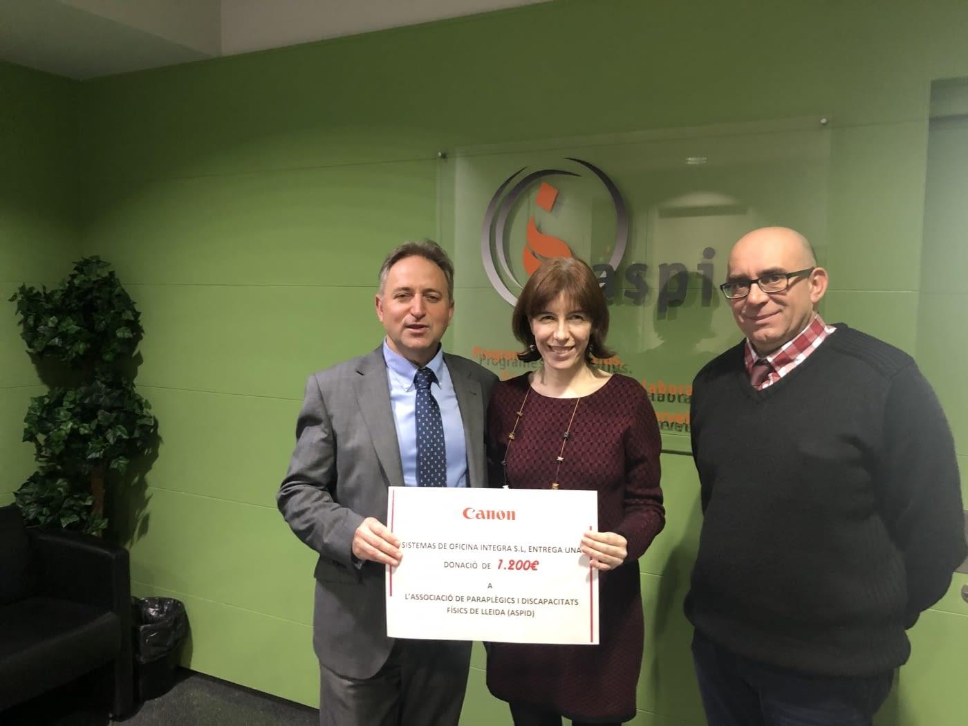 Donació de CANON a ASPID destinada al seu projecte associatiu