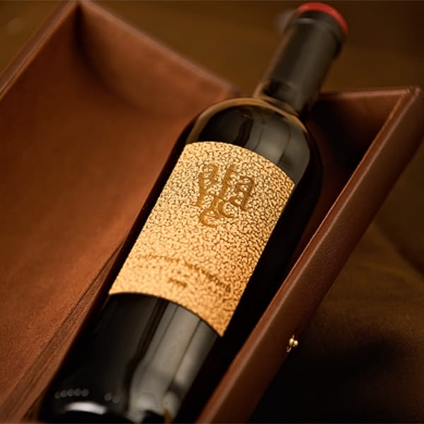 Synthetic leather wine label