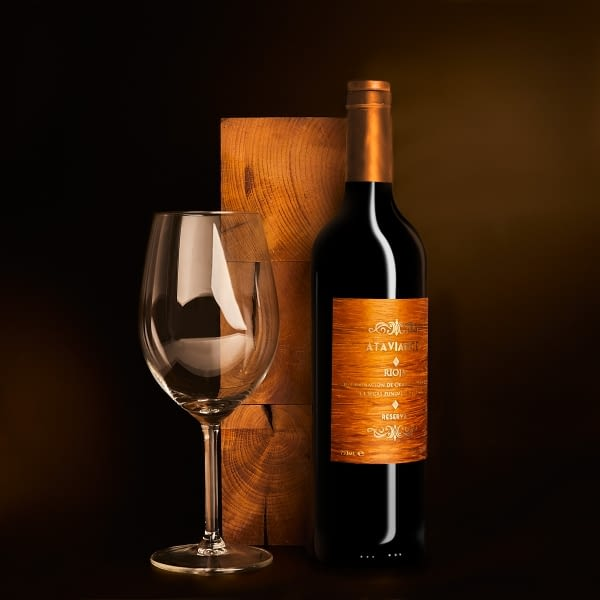Wooden and brass label for wines