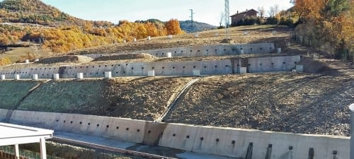 Civil works for the stabilization of a slope in th