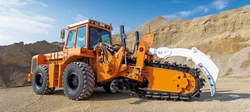 Chain trenchers on tyres