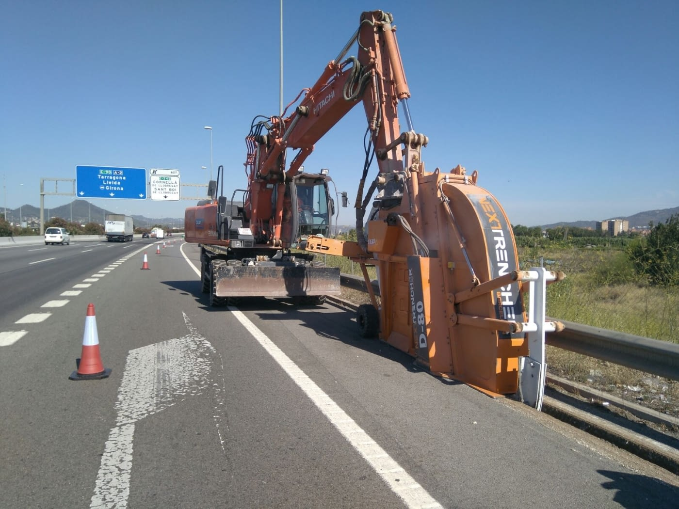 Calaf Trenching's works on A2 motorway, on the roadside ditch to bury lighting cable