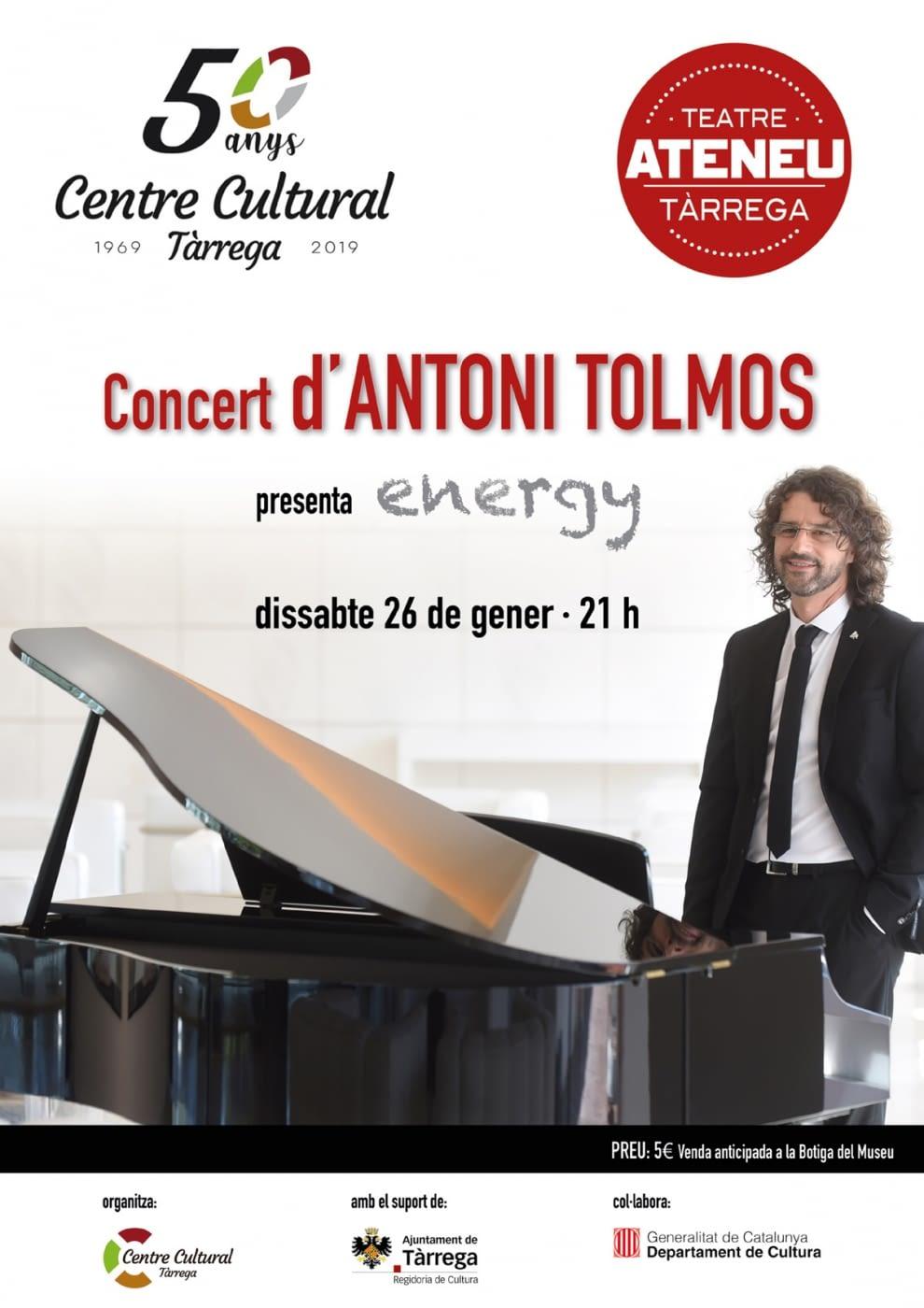 Concert d'Antoni Tolmos (Teatre Ateneu a les 21h del 26/01/2019)