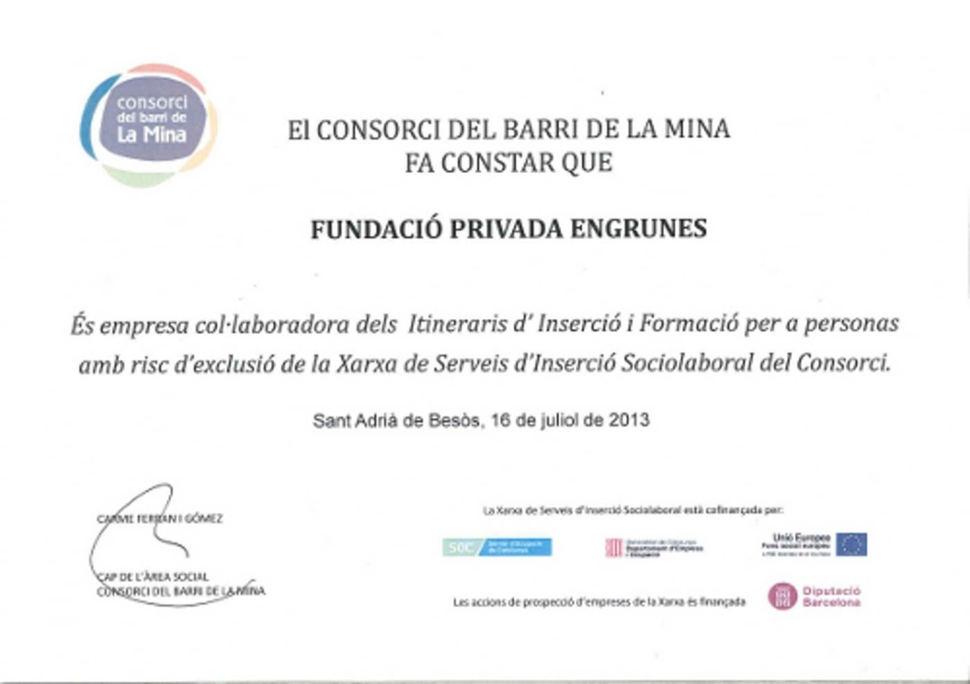Reconeixement del Consorci del Barri de la Mina a Engrunes
