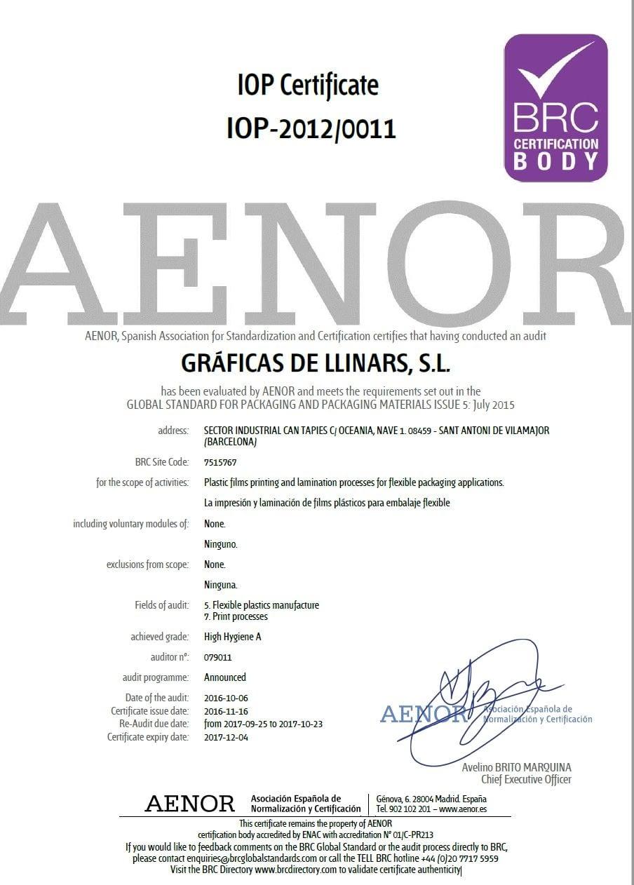 BRC IoP certificate