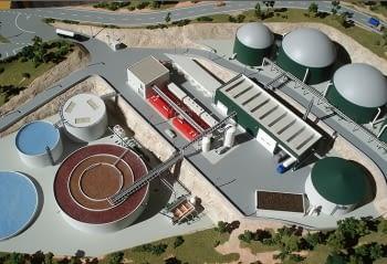 Maqueta de una planta de biogás