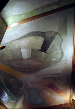 MURAL PAINTINGS IN THE CEILING OF THE LIBRARY IN MONTCADA STREET IN BARCELONA