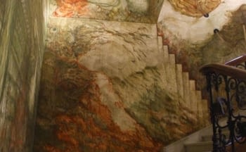 FRESCO MURAL PAINTINGS IN THE STAIRS OF THE PALACE OF DIPUTACIÓ DE LLEIDA