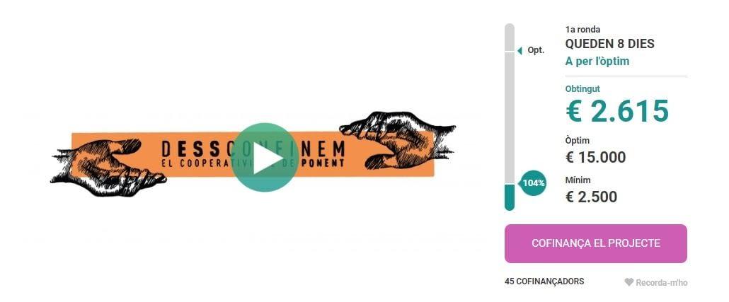 En només sis dies la campanya de micromecenatge #dESSconfinemPonent aconsegueix el primer repte econòmic