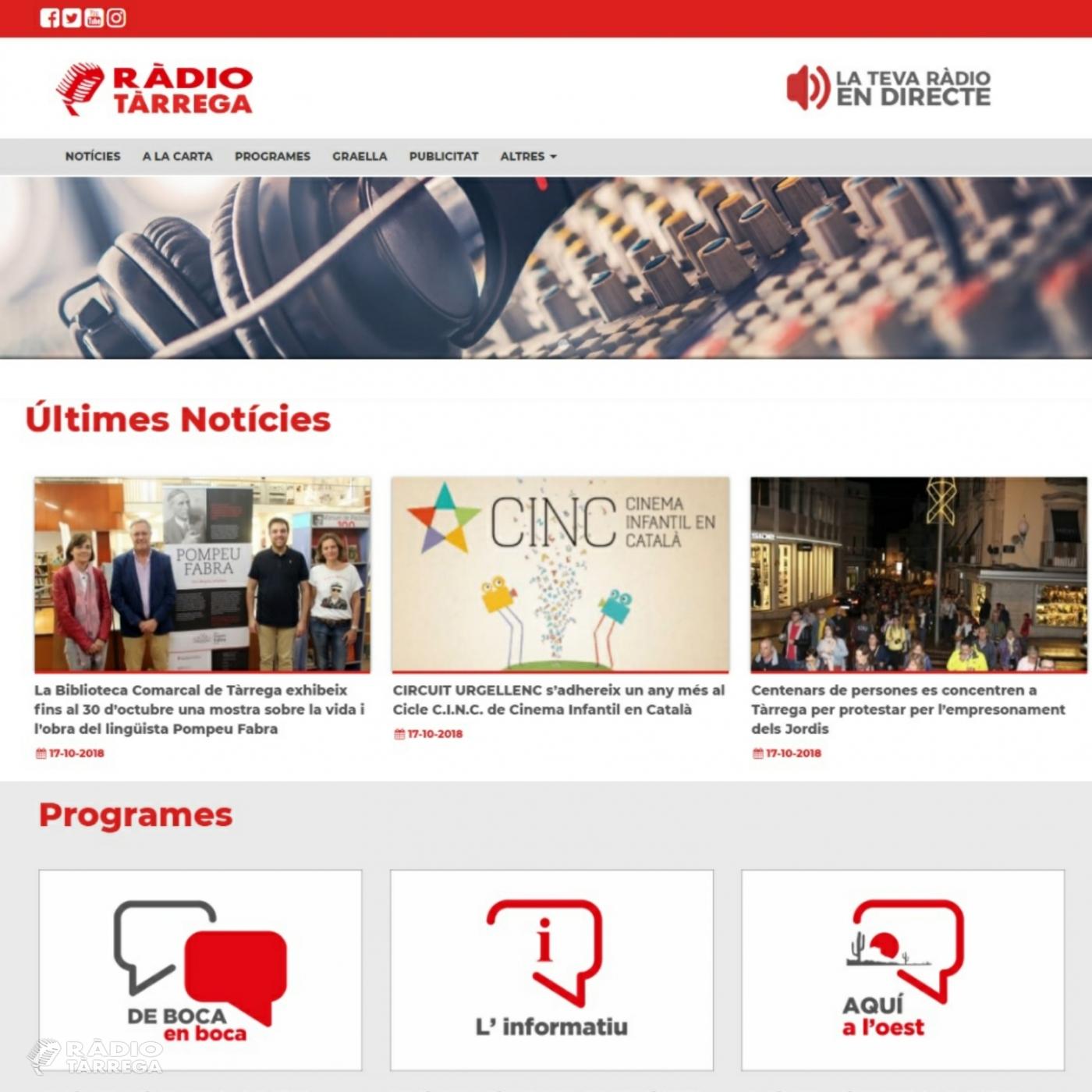 El portal web de l'emissora municipal Ràdio Tàrrega (92.3 FM) renova la seva imatge i continguts