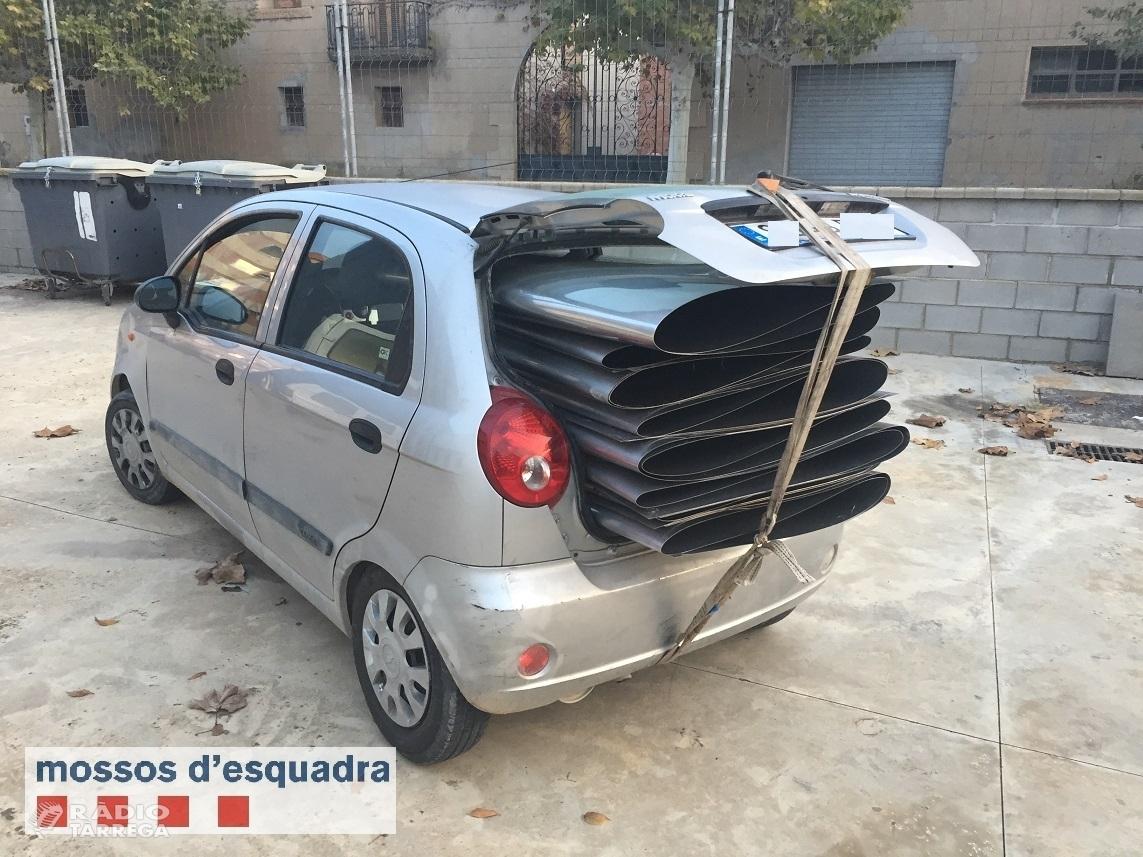 Els Mossos d'Esquadra detenen un  home per robar peces metàl·liques en empreses de l'Urgell i Pla d'Urgell