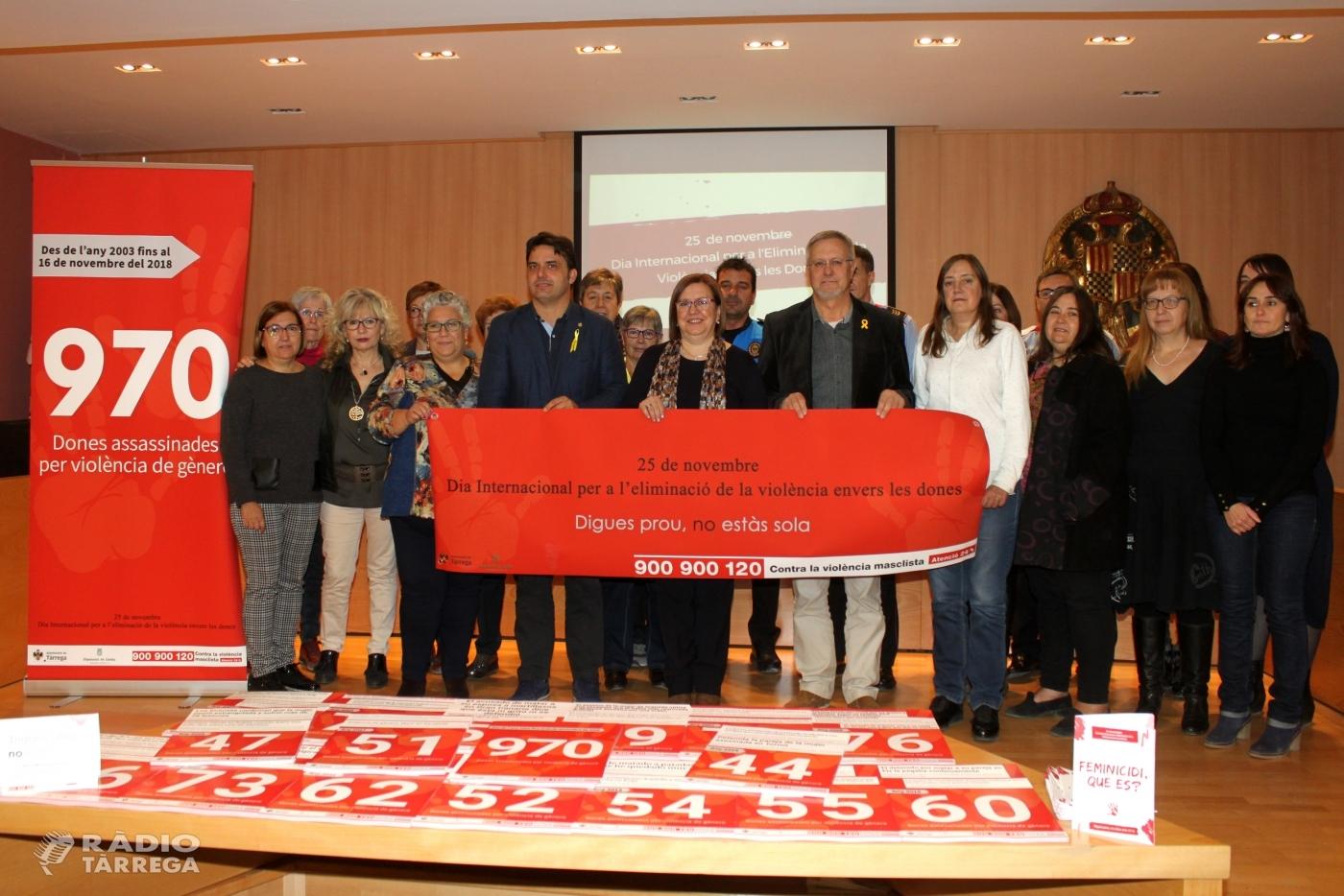 """Tàrrega recorda i homenatja les dones assassinades per violència masclista dins la campanya """"Digues Prou, No Estàs Sola"""""""