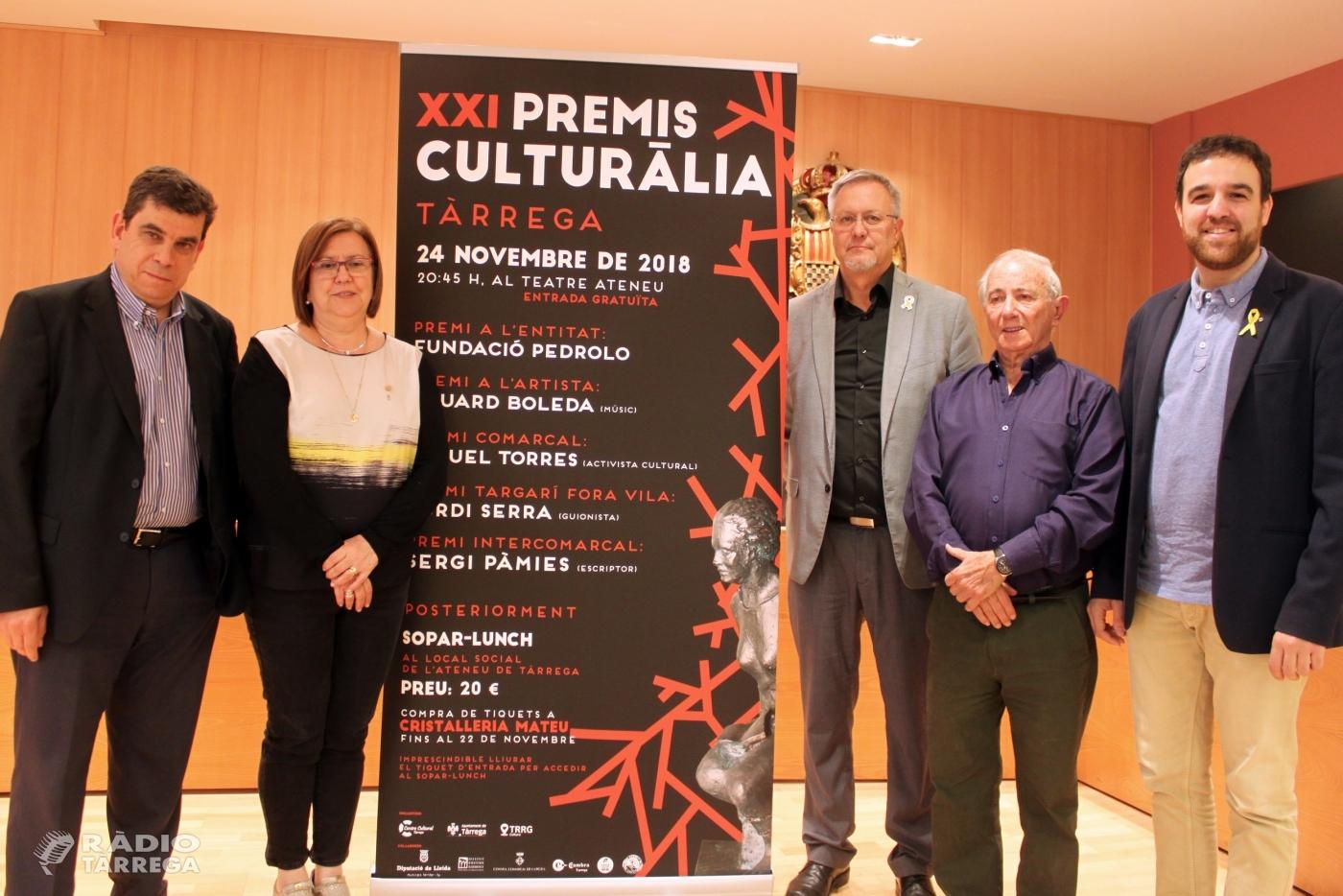 Tàrrega celebra aquest dissabte 24 de novembre la gala de lliurament dels Premis Culturàlia 2018