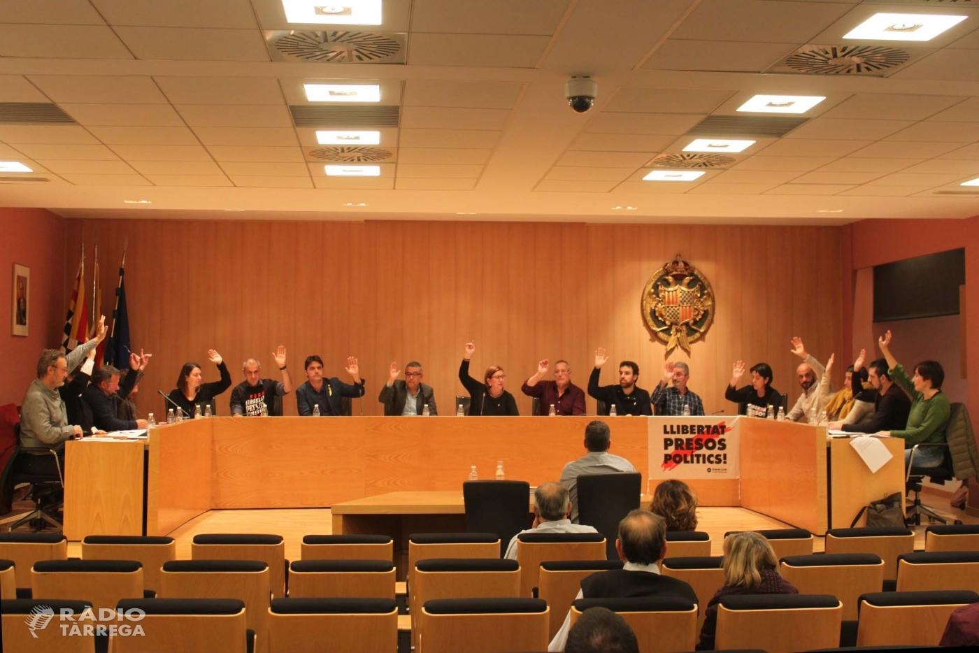 El Ple de Tàrrega insta per unanimitat a aturar el decret de menjadors escolars