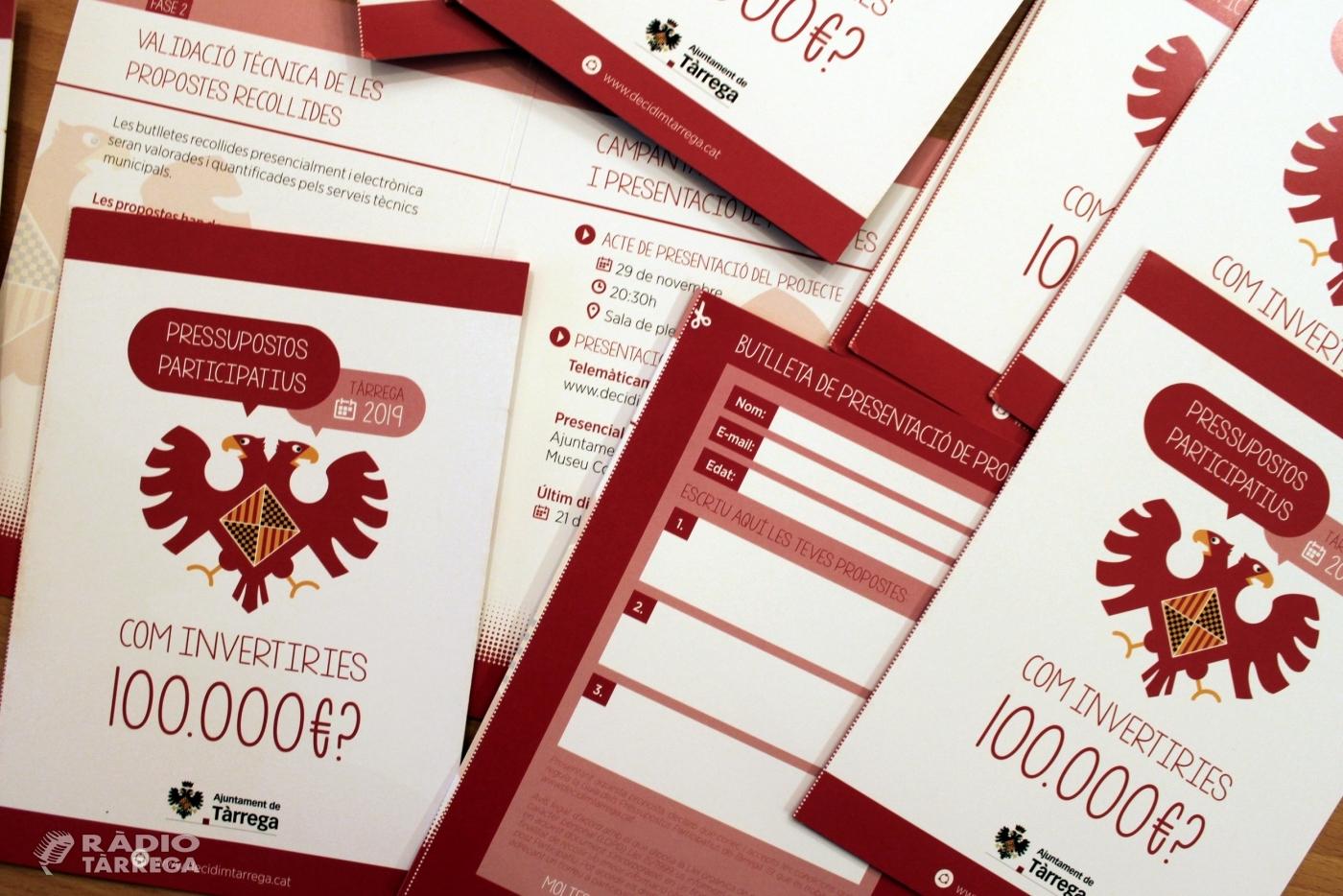 L'Ajuntament de Tàrrega impulsa els seus primers pressupostos participatius, en què la ciutadania decidirà com invertir 100.000 euros