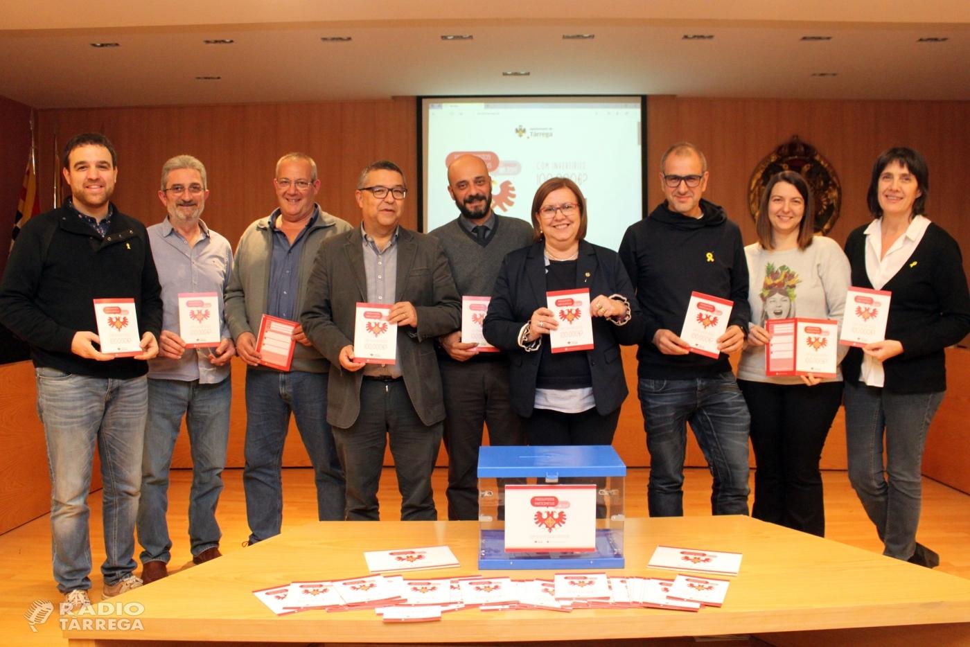 L'Ajuntament de Tàrrega posa en marxa els seus primers pressupostos participatius, en què la ciutadania decidirà com invertir 100.000 euros