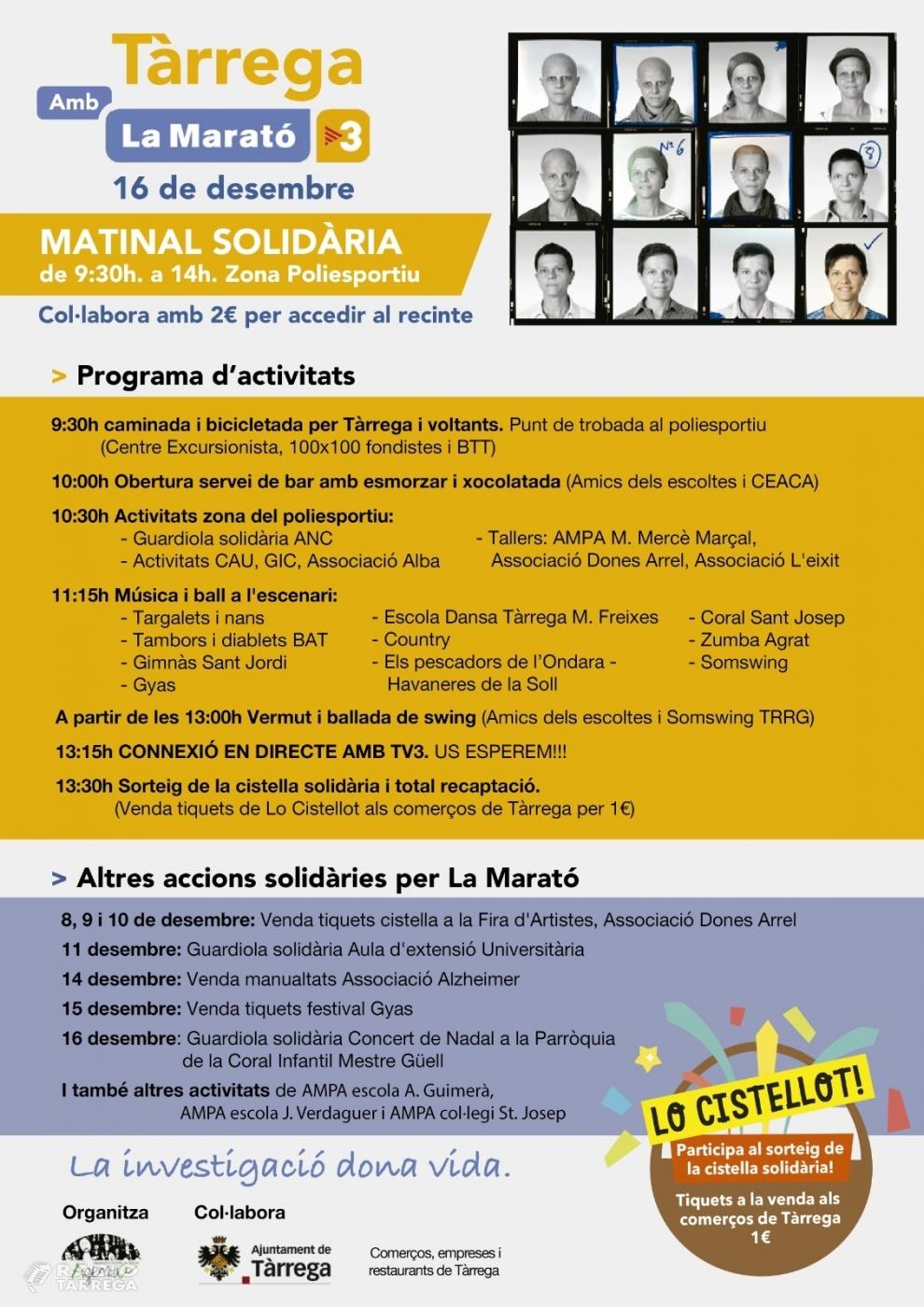 Més d'una trentena d'entitats d'AgEnTa organitzaran les activitats per a la Marató de TV3 a Tàrrega