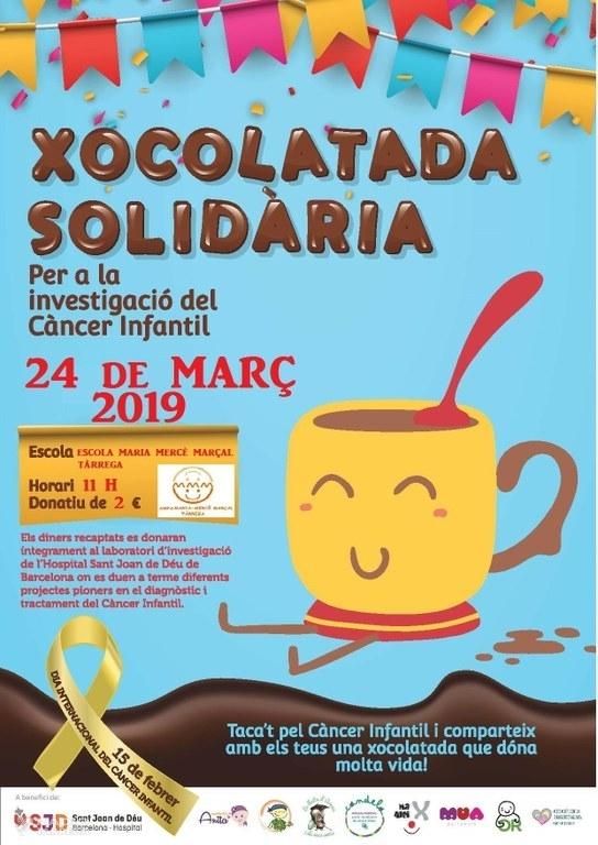 L'AMPA de l'escola Maria Mercè Marçal organitzarà una xocolata solidària per a la investigació del càncer infantil el dia 24 de març