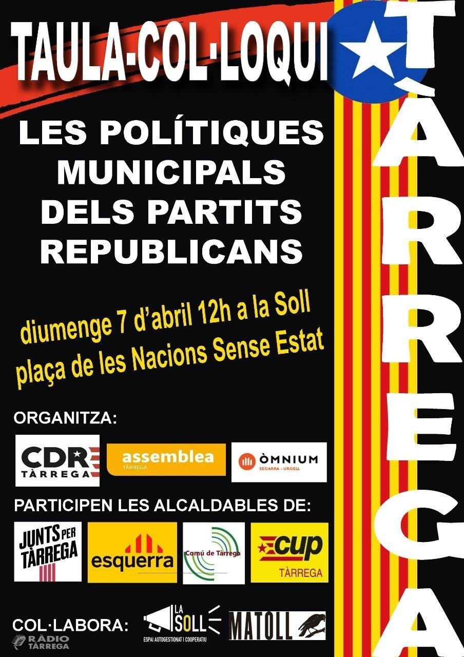 L'ANC de Tàrrega organitza una taula col·loqui amb els partits republicans municipals