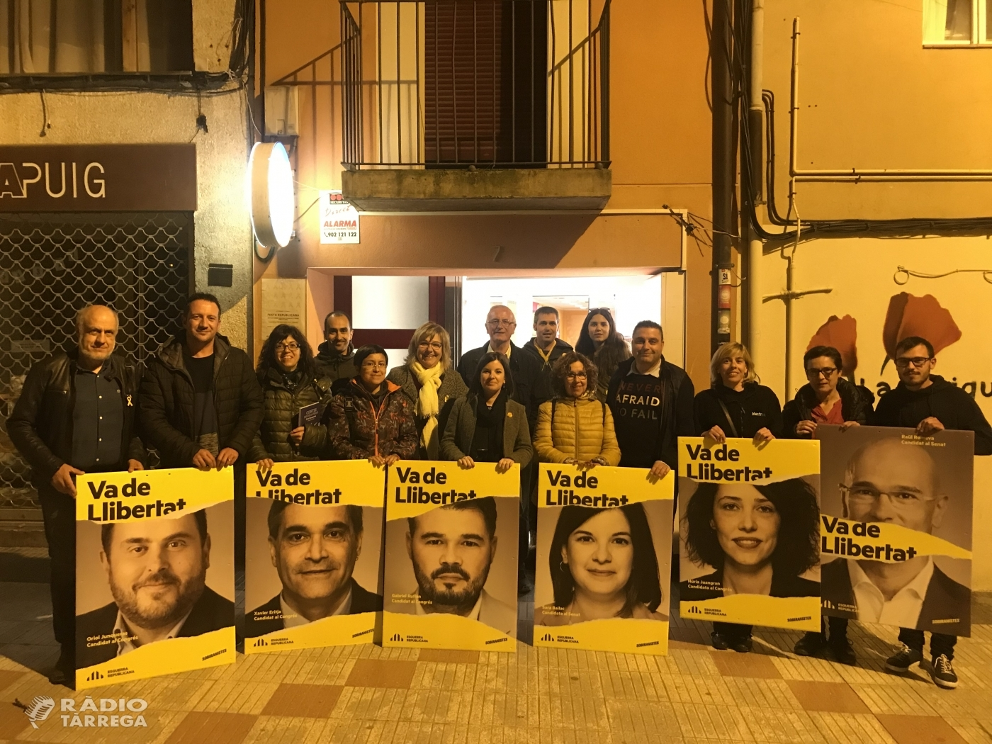 ERC dona el tret de sortida a la campanya a Tàrrega amb la tradicional encartellada