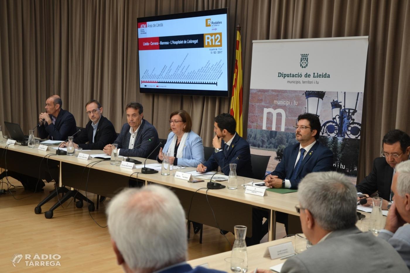 Generalitat i 'Plataforma per a la millora de la línia de tren Lleida-Manresa' fan un front comú per defensar la modernització i el traspàs complet de la R12