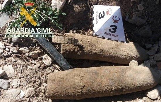 Destrueixen dos projectils d'artilleria de la Guerra Civil localitzats en un polígon de Tàrrega
