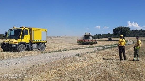 Agricultura posa en marxa l'operatiu de suport i vigilància per minimitzar els incendis durant l'època de la sega