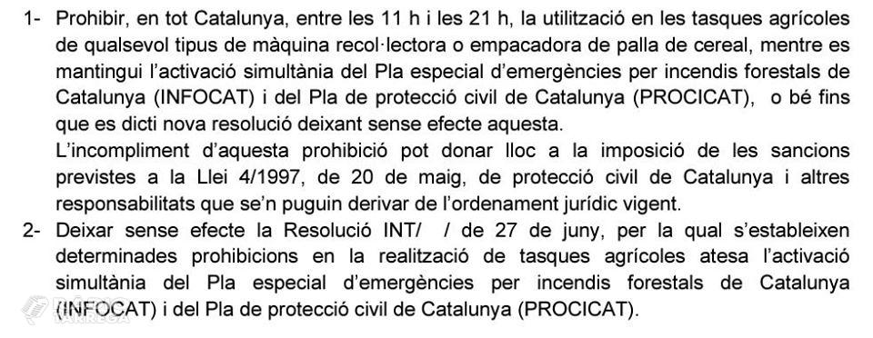 El Govern aixeca parcialment la prohibició de segar i la limita entre les 11 del matí i les 9 del vespre