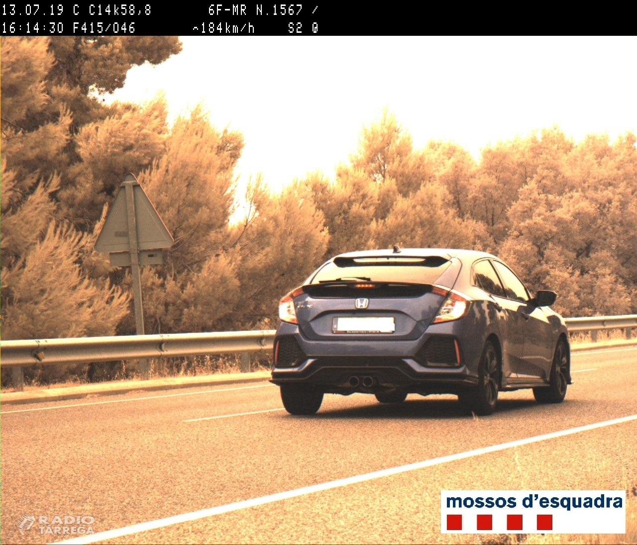 Els Mossos d'Esquadra denuncien penalment un conductor per circular a 184 Km/h per la C-14 a l'Urgell