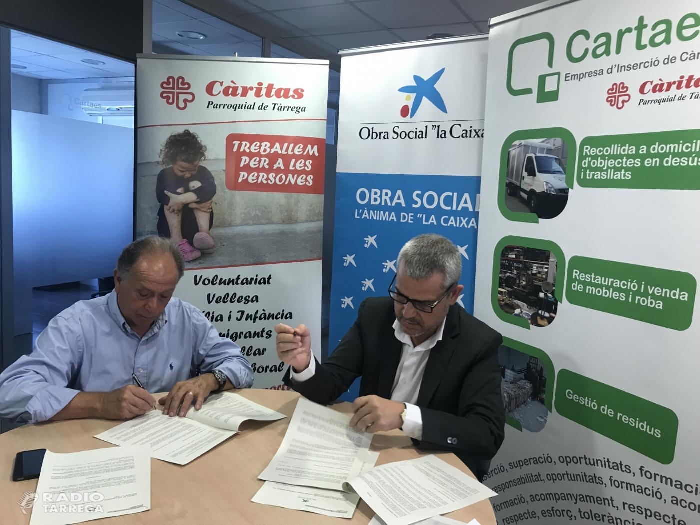 """Conveni entre Cartaes Tàrrega Empresa d'Inserció SLU, Càritas Parroquial de Tàrrega i la Fundació Bancària """"La Caixa"""""""