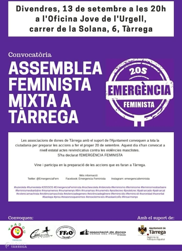 Tàrrega acollirà demà divendres 13 de setembre l'Assemblea Feminista Mixta oberta a tota la ciutadania