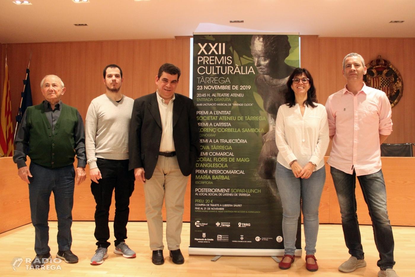 Tàrrega concedeix els Premis Culturàlia 2019 a l'escriptora Maria Barbal, l'escenògraf Llorenç Corbella, la Societat Ateneu, la revista Nova Tàrrega i la Coral Joia de Maig