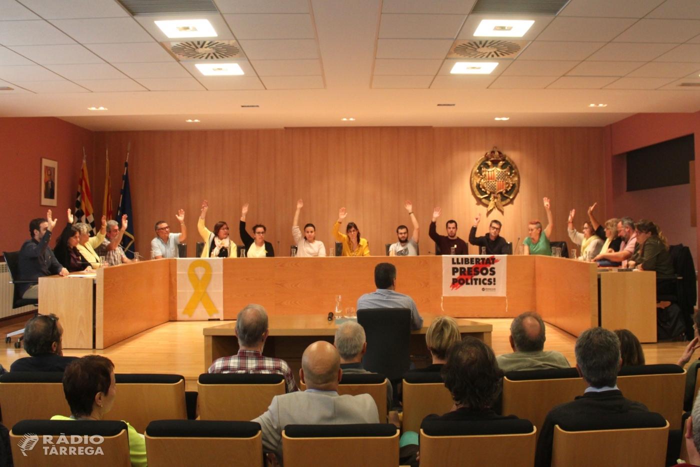 El Ple de Tàrrega aprova la moció que rebutja la sentència del Tribunal Suprem, reclama la llibertat immediata dels presos polítics i defensa el dret d'autodeterminació