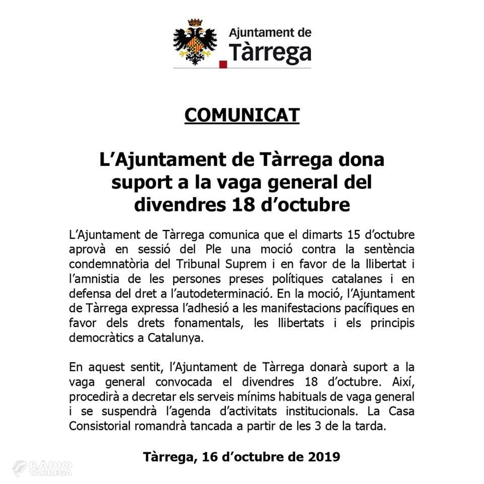 L'Ajuntament de Tàrrega dona suport a la vaga general del divendres 18 d'octubre