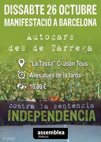 Autocars des de Tàrrega per la multitudinària manifestació del 26 d'octubre a Barcelona