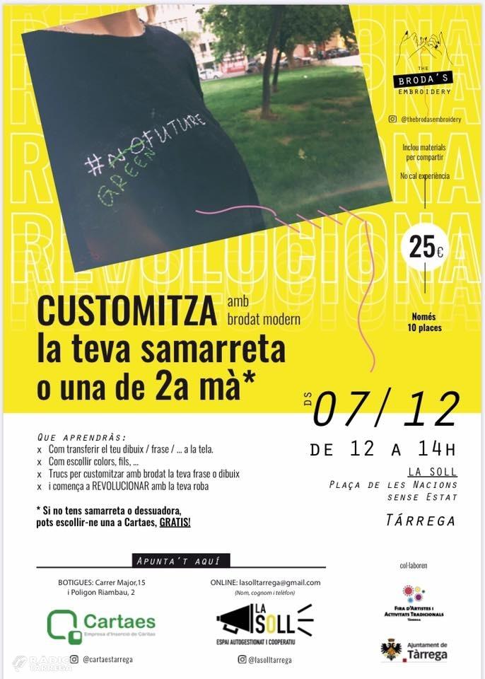 La Soll acollirà un taller de customització de samarretes a càrrec de Cartaes durant la Fira d'Artistes
