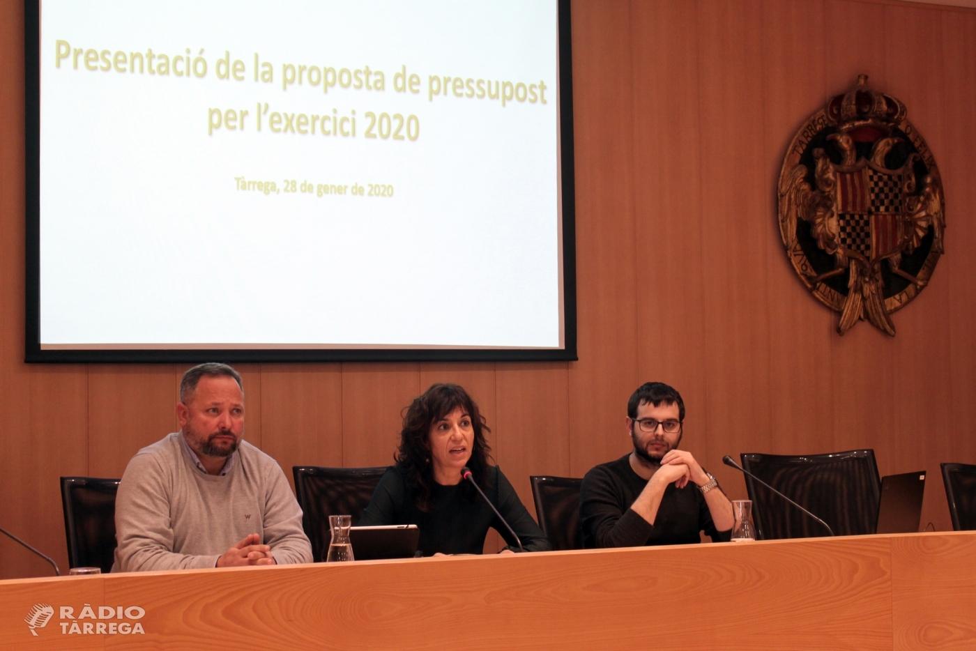 L'Ajuntament de Tàrrega impulsa un nou pressupost municipal de 17,8 milions d'euros que aposta per les àrees socials, l'educació i la cultura