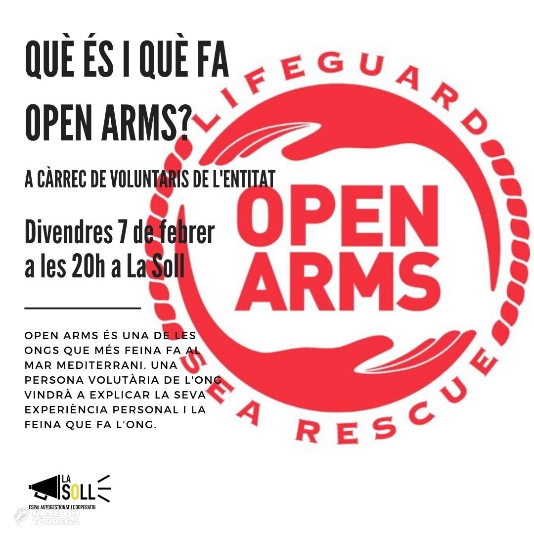 Open Arms farà una xerrada a La Soll de Tàrrega aquest divendres 7 de febrer a les 20h