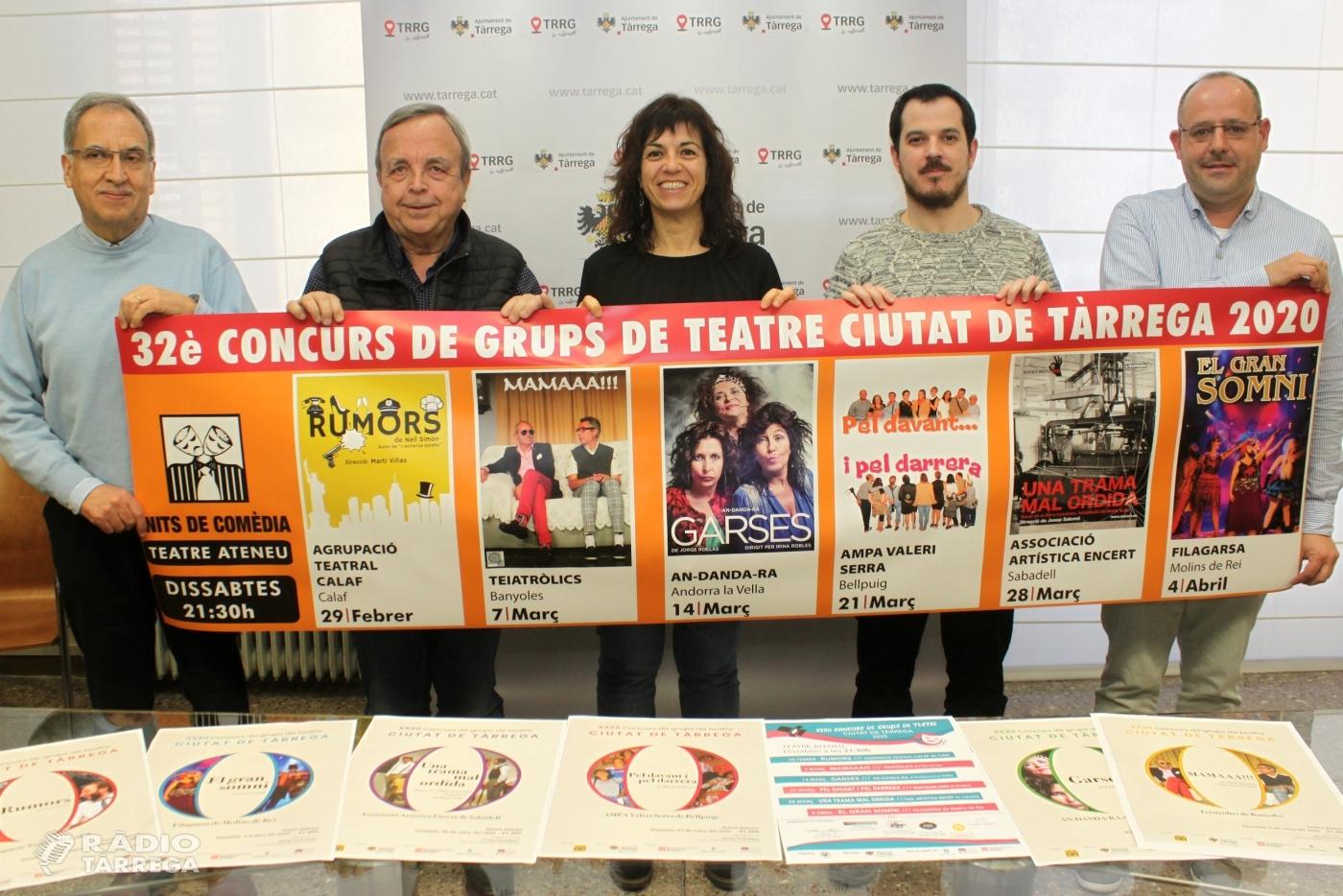 El gènere de la comèdia regna al 32è Concurs de Grups de Teatre Ciutat de Tàrrega, del 29 de febrer al 4 d'abril