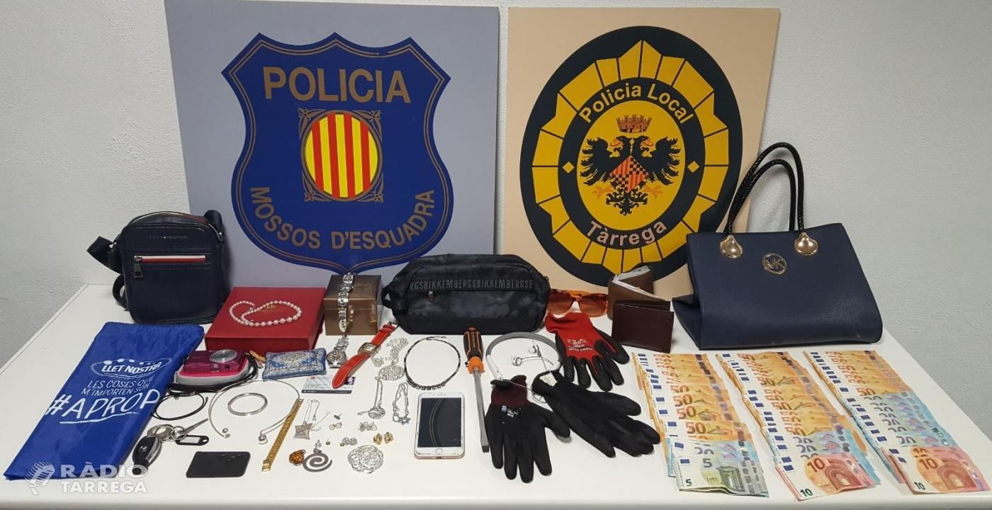 Els Mossos d'Esquadra i la Policia Local de Tàrrega detenen tres homes per robatoris en domicilis