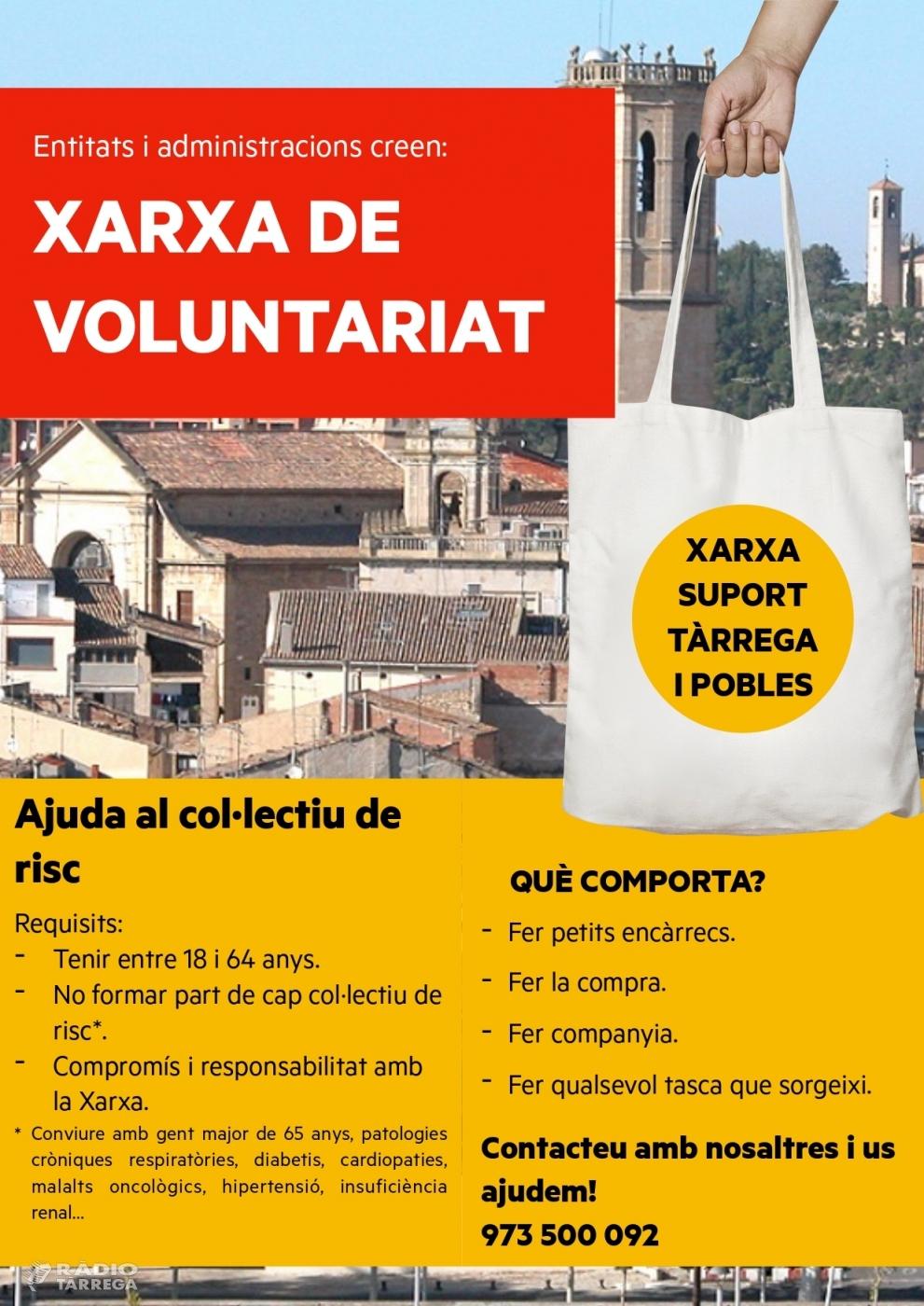 Neix la Xarxa de Voluntariat de Tàrrega i Pobles, iniciativa solidària per ajudar a atendre gent que visqui dificultats pel coronavirus
