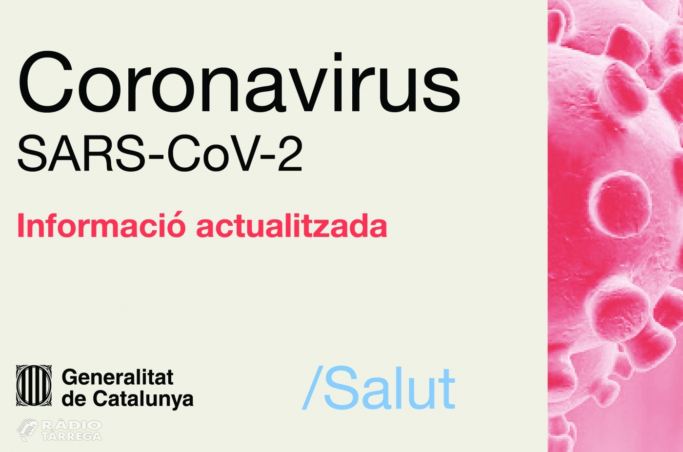 Salut confirma que en les últimes hores han mort 3 persones amb coronavirus a la Regió Sanitària Lleida i 2 persones a la RS Alt Pirineu i Aran