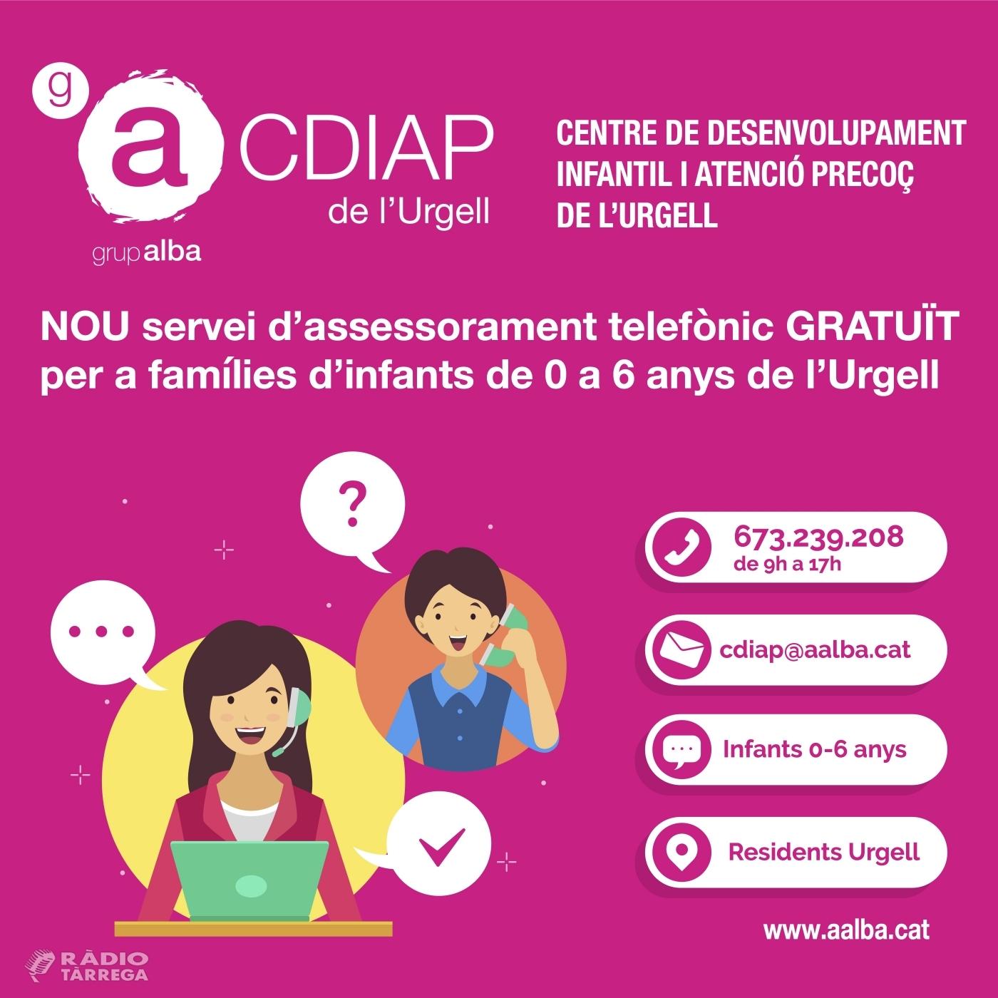 El CDIAP del del Grup Alba ofereix suport telefònic gratuït a les famílies amb infants de 0 a 6 anys de l'Urgell