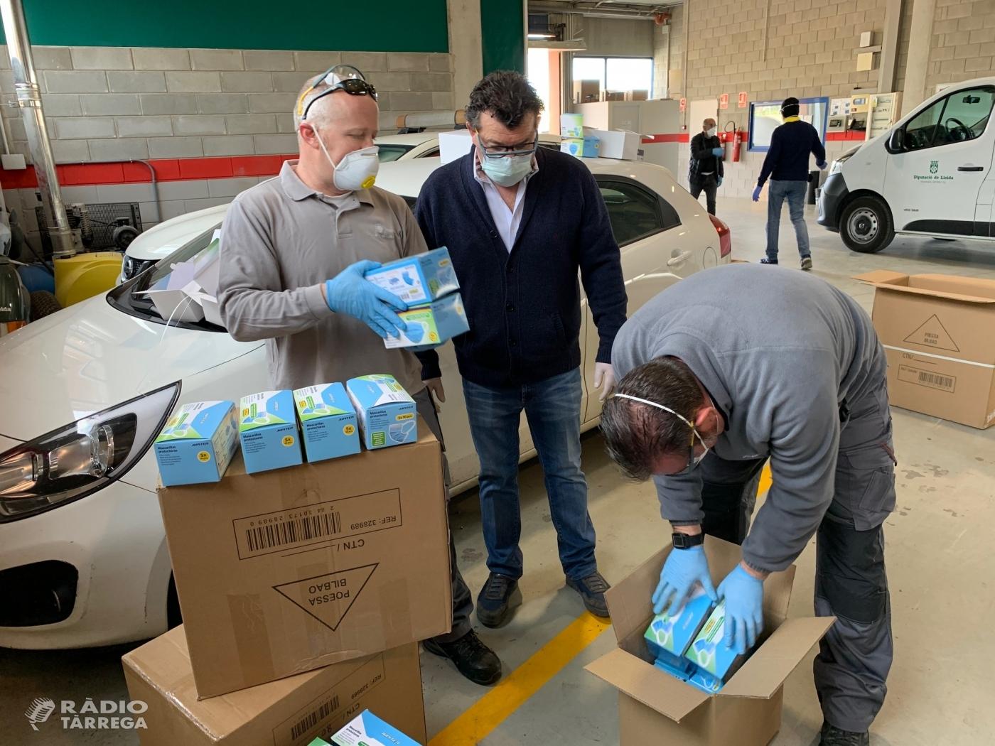 La Diputació de Lleida reparteix 50.000 mascaretes i 1.200 ulleres de protecció entre els ajuntaments a través dels consells comarcals de la demarcació