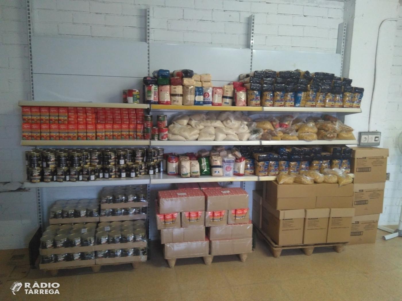 El Magatzem d'Aliments Solidaris de Tàrrega augmenta en 20 famílies el nombre de serveis des de l'inici de la crisi del coronavirus