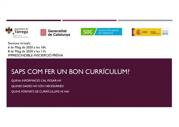 L'Ajuntament de Tàrrega oferirà a partir d'aquest proper dimecres 4 sessions en format tallers online per orientar a persones aturades