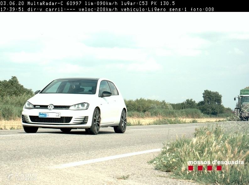 Els Mossos d'Esquadra denuncien penalment un conductor per circular a 208 km/h per la C-53 a l'Urgell